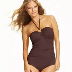 Michael Kors Logo Ring Halter One Piece Swimsuit 8